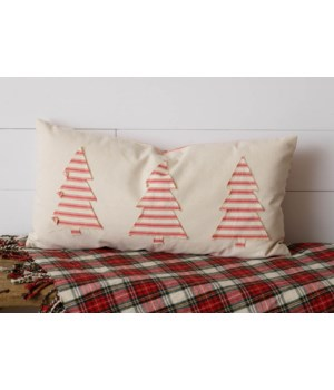 Red Stripes and Trees Two-Sided Pillow