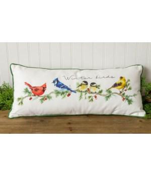 Winter Birds Lumbar Pillow