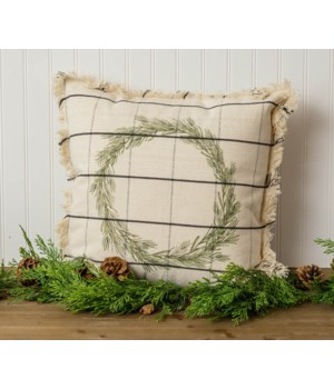 Window Pane Check Pillow With Wreath