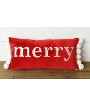 Merry Velvet Pom Pom Pillow