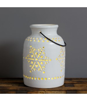 Ceramic Luminary - Snowflake Cutouts, Lg