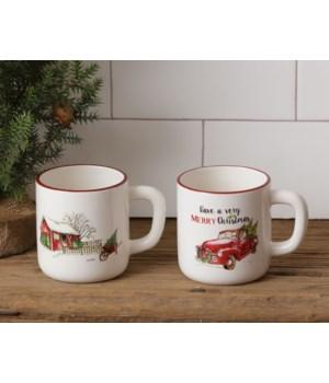 Mug - Farmhouse Christmas, Truck, and Farmhouse