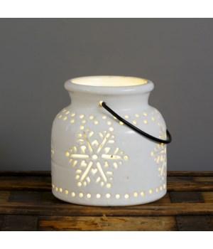 Ceramic Luminary - Snowflake Cutouts, Sm