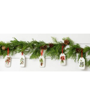 Winter Botanical Ceramic Ornaments