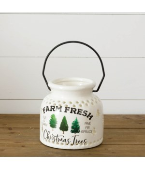 Ceramic Luminary - Farm Fresh Christmas
