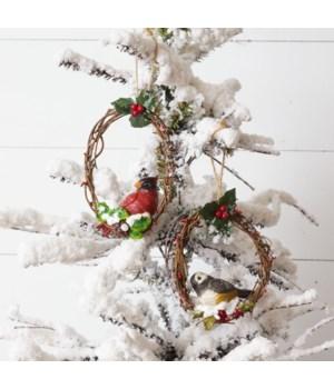 Ornaments - Resin Birds on Twig Wreath