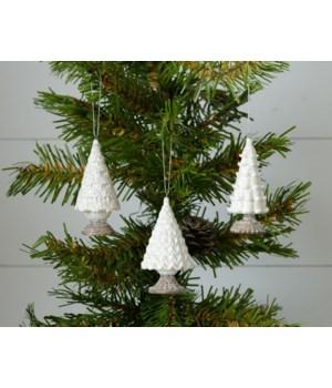 Ornaments - Glittery White Trees