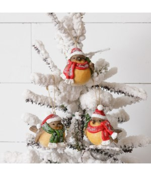 Ornaments - Birds With Santa Hats