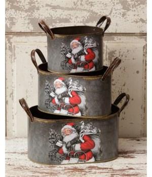 Oval Nesting Tins - Santa Claus