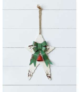 Rustic Metal Stars With Bell, Red & White