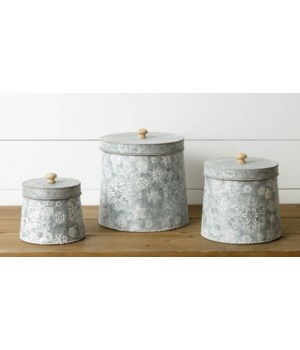 Nesting Tins - Embossed Snowflakes