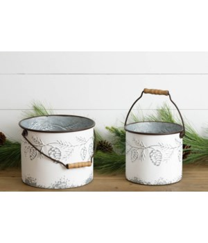 Embossed Pinecone Buckets