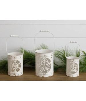 Metal Lanterns With Snowflake Cutout