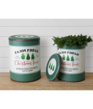 Metal Buckets With Lids - Farm Fresh Christmas Trees