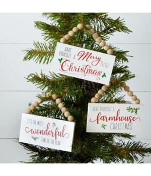 Mini Beaded Signs - Wonderful, Farmhouse, Christmas