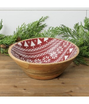 Fair Isle Mango Wood And Enamel Bowl