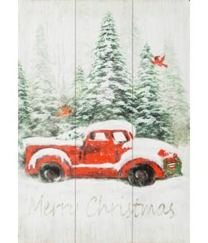 Merry Christmas Snowy Truck Sign