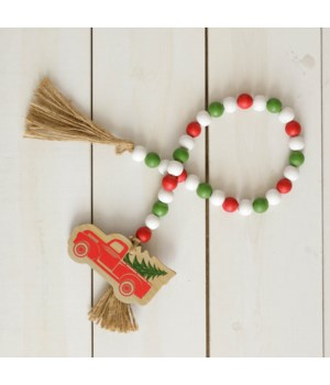 Embossed Print Red Truck Farmhouse Beads