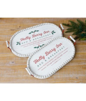 Holly Berry Inn Trays - Oval with Beaded Edge