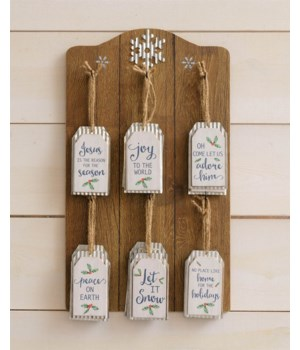 Ornament Display With corrugated Metal Tag Ornaments
