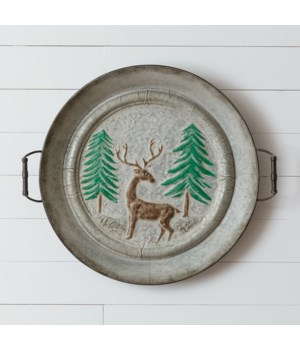 Embossed Tray - Deer in Forest