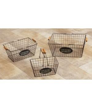 Wire Baskets - Country Market 6.5 x 17.5 x 11 in., 6 x 14.5 x 9 in., 5 x 12 x 7 in.