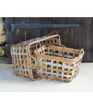 Baskets - Square Bamboo and Metal 12 in. x 16 in. x 12 in., 11 in. x 14 in. x 11 in.