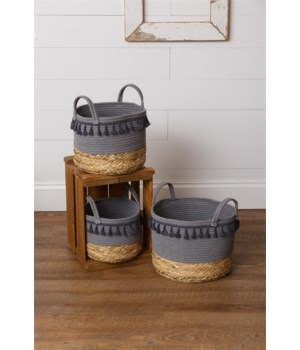 Rope and Straw Tassel Baskets