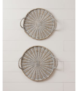 Antiqued Willow Basket Trays - Round