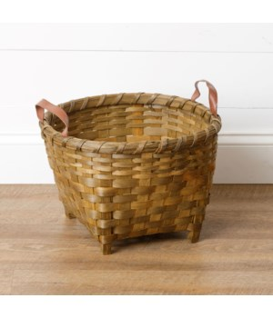 Chipwood Basket With Wooden Legs And Handles