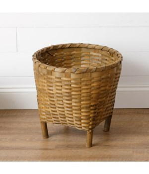 Chipwood Basket With Wooden Legs