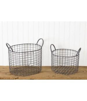 Oval Wire Baskets, Slate Grey