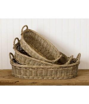 Nesting Oval Wicker Baskets