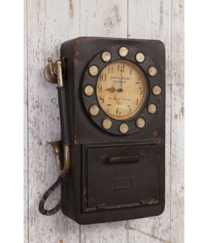 Wall Clock - Vintage Phone With Key Compartment