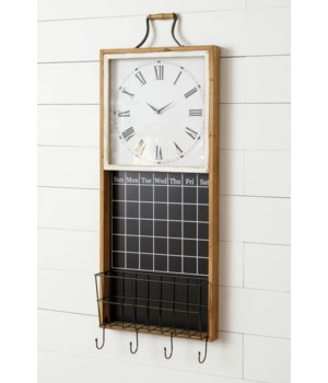 Clock With Chalkboard Calendar And Basket
