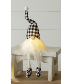 Lighted Black And White Check Gnome Shelf Sitter