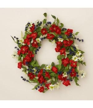Wreath - Americana Daisies & Mini Roses Twig Base