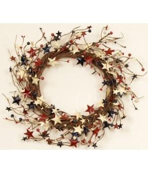 Wreath - Americana - Berries And Tin Stars