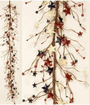 Garland - Americana - Berries And Tin Stars