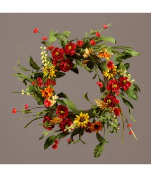 Wreath - Twig With Mixed Daisies And Cream Berries 24 in. outside, 10 in. inside