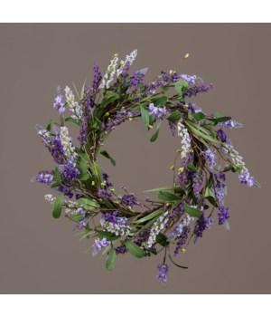 Wreath - Twig Base W/Asst Shades Of Lavender 17 in. outside, 9.5 in. inside