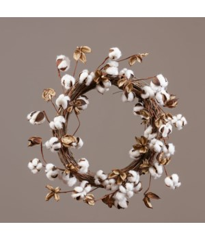 Wreath - Twig Base With Cotton Pods 18 in. outside, 10 in. inside