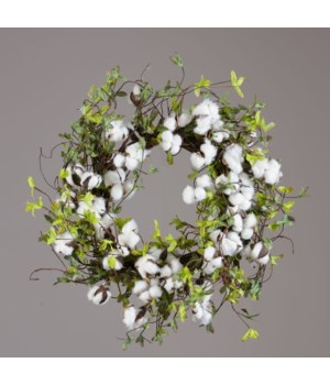 Wreath - Twig Base Cotton Miniature Green Leaves