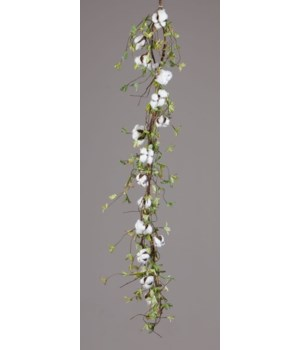 Garland - Twig Base Cotton Miniature Green Leaves 52 in.