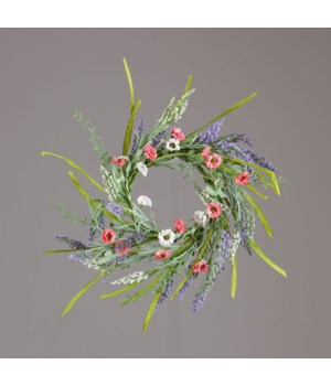 Candle Ring - Coral White Daisies, Heather Sprigs 15 in. outside, 6 in. inside