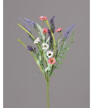 Branch - Coral White Daisies, Heather Sprigs