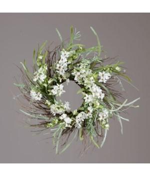 Wreath - Twig Base, Assorted White Flowers, Foliage
