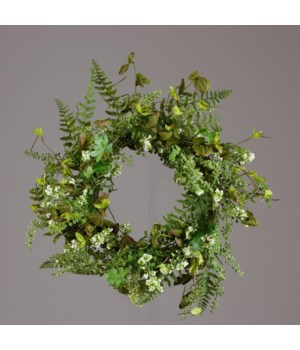 Wreath - Assorted Green Foliage, White Berry Clusters