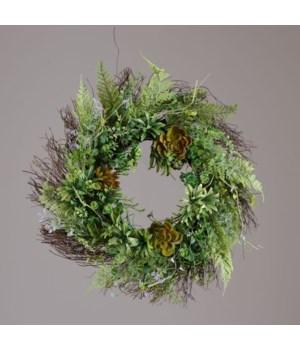 Wreath - Twig, Ferns, Succulents 24 in. outside, 10 in. inside