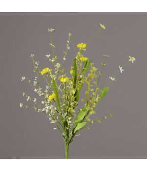 Branch - Yellow Straw Flowers, Assorted Foliage